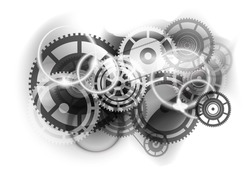Grey abstract background with cogwheel