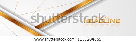 Grey abstract corporate banner with bronze glossy stripes. Vector design