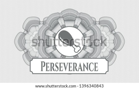 Grey abstract linear rosette with chicken leg icon and Perseverance text inside
