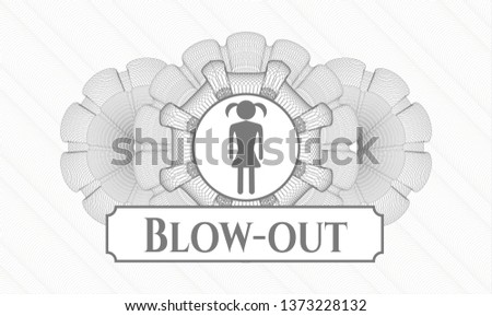 Grey abstract linear rosette with girl icon and Blow-out text inside
