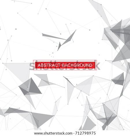 Grey Abstract Network Mesh on White Background with Red Text Frame - Vector Illustration #712798975