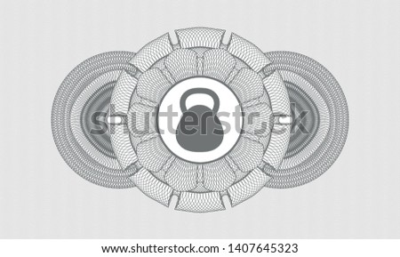 Grey abstract rosette with kettlebell icon inside