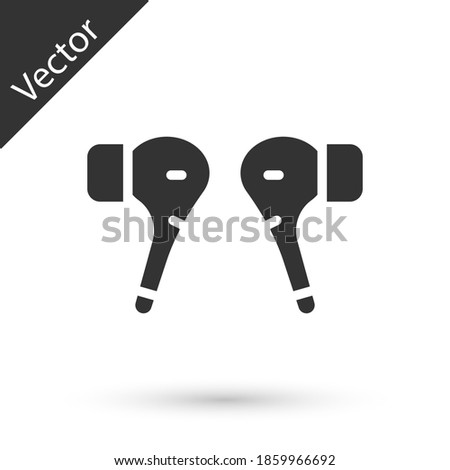 Grey Air headphones icon icon isolated on white background. Holder wireless in case earphones garniture electronic gadget. Vector. Stok fotoğraf ©
