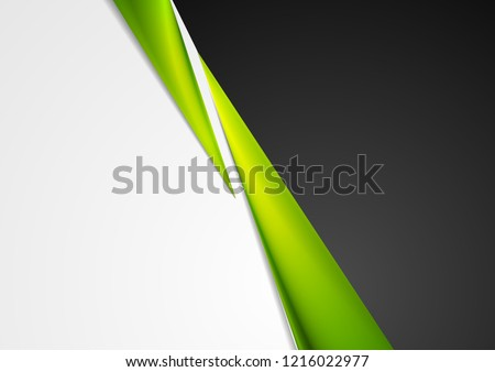 Grey and black abstract corporate background with green glossy stripes. Vector design