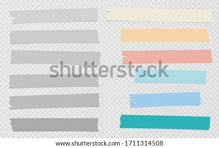 Grey and colorful different size adhesive, sticky, masking, duct tape, paper pieces are on white squared background
