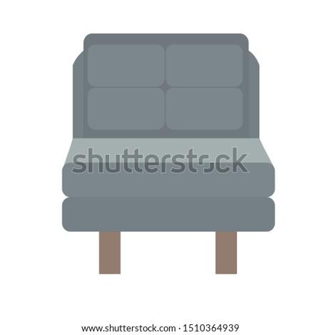 Grey and dark brown sofa. Flat design icon vector illustration.