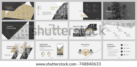 Grey and gold presentation templates elements on a white background. Vector infographics. Use in Presentation, flyer and leaflet, corporate report, marketing, advertising, annual report, banner.