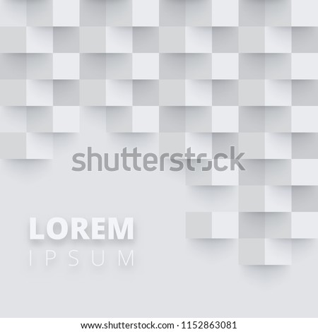 Grey and white background with abstract checkered pattern. Creative solution for invitation, card, presentation or booklet design. Blank template. Vector paper illustration. #1152863081