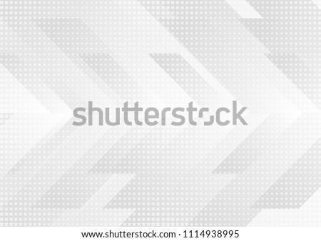 Grey and white tech arrows abstract modern background. Concept vector design