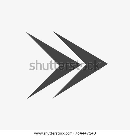 Grey arrow vector icon on trendy light gray background.