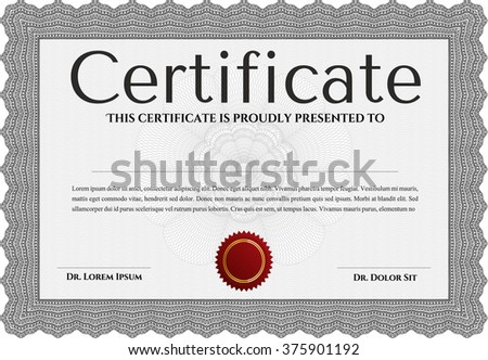 Grey Awesome Certificate template. With great quality guilloche pattern. Award. Money Pattern.