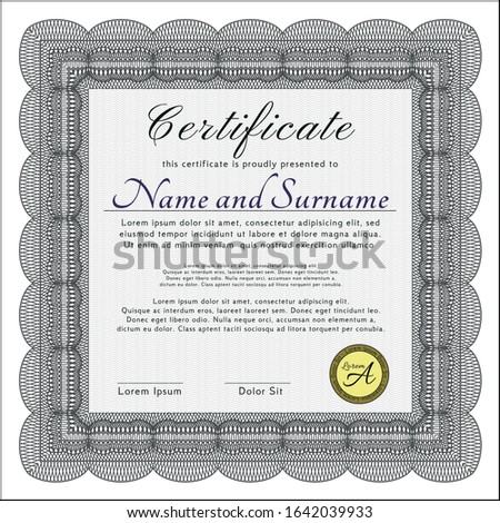 Grey Awesome Certificate template. With quality background. Customizable, Easy to edit and change colors. Good design.