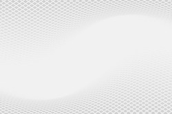 Grey backdrop with dynamic square halftone. Wavy grey square halftone background. Abstract monochrome illustrated graphic design.