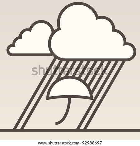 Grey background with cloud, rain and umbrella
