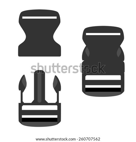 Grey backpack buckle opened and closed vector icon set isolated, belt buckle, safety buckle, bag buckle Stock photo ©