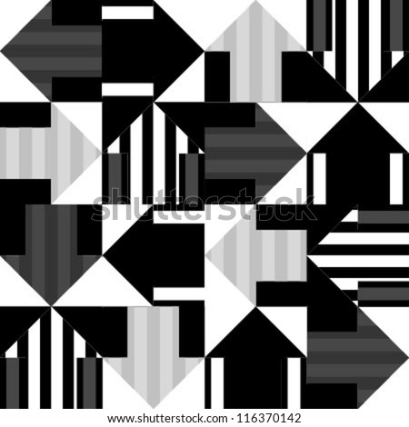 grey, black, white striped arrows seamless pattern