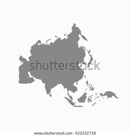 Grey blank Asia map. Flat vector illustration. EPS10.