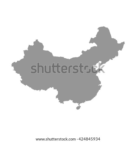 Grey blank China map. Flat vector illustration. EPS10.