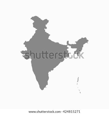Grey blank India map. Flat vector illustration. EPS10.