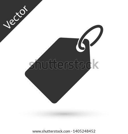 Grey Blank label template price tag icon isolated on white background. Empty shopping discount sticker. Template discount banner. Vector Illustration
