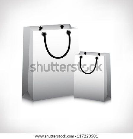 Grey blank paper shopping bags. EPS 10.