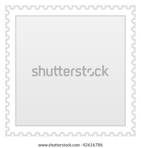 Satin smooth matted grey blank postage stamp with shadow on a white background