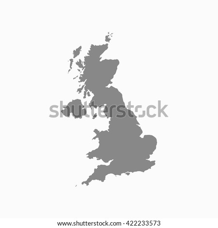 Grey blank United Kingdom map. Flat vector illustration. EPS10.