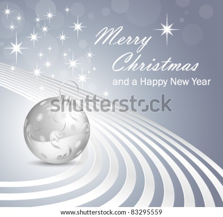 Grey blue Christmas background - abstract silver gray bauble white shiny white lines and stars