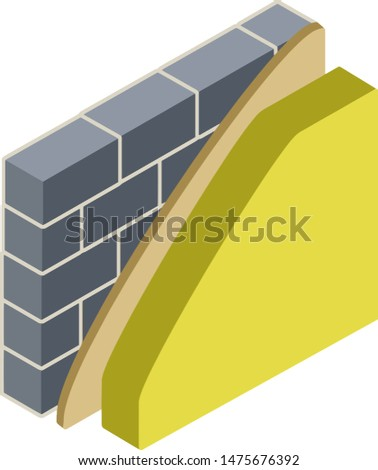 Grey brick wall in isometry with layers of plaster and insulation. Construction of buildings. Material for home repair. Scheme of applying green and yellow layer