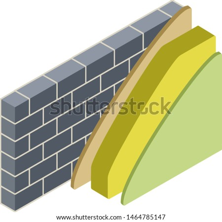 Grey brick wall in isometry with layers of plaster and insulation. Material for home repair. Scheme of applying green and yellow layer. Construction of buildings