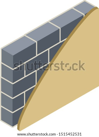 Grey brick wall in isometry with layers of plaster and insulation. Scheme of applying brown layer. Material for home repair. Construction of buildings