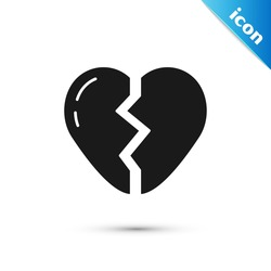 Grey Broken heart or divorce icon isolated on white background. Love symbol. Valentines day.  Vector
