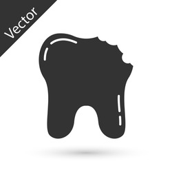 Grey Broken tooth icon isolated on white background. Dental problem icon. Dental care symbol. Vector.