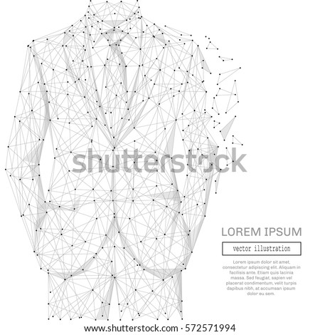 Grey businessman with polygon line on abstract background. Polygonal space low poly with connecting dots and lines. Connection structure. Vector business background.