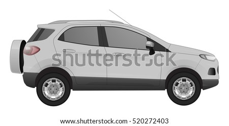 grey car with shadows on white