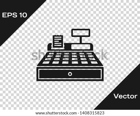 Grey Cash register machine with a check icon isolated on transparent background. Cashier sign. Cashbox symbol. Vector Illustration