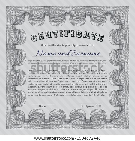 Grey Certificate diploma or award template. With linear background. Customizable, Easy to edit and change colors. Sophisticated design.