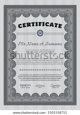 Grey Certificate of achievement. Customizable, Easy to edit and change colors. With great quality guilloche pattern. Money Pattern design.