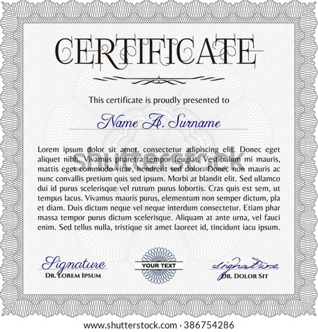 Grey Certificatem diplmoa or award template. Money style design. With guilloche pattern. Design template.