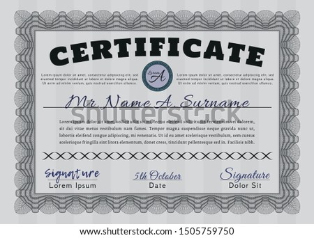 Grey Classic Certificate template. Excellent design. Customizable, Easy to edit and change colors. With complex background.