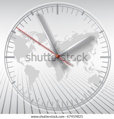 Grey clock on world map abstract background