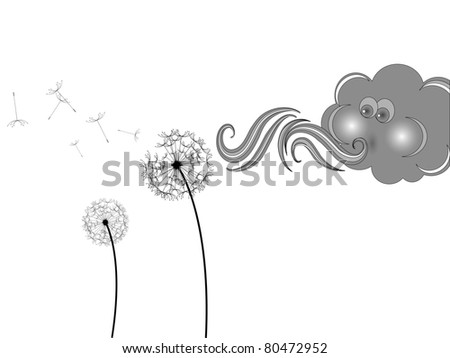 Grey cloud and withered dandelion - stock vector