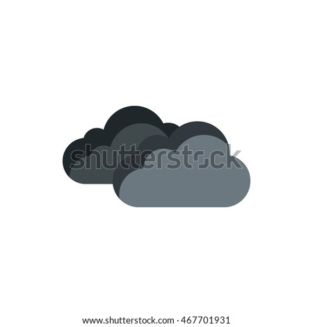 grey clouds icon in flat style