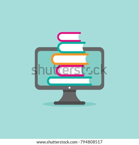 grey computer monitor with stack of colorful books. Isolated on powder blue background. Flat vector simple icon. Internet knowledge symbol. Good for web and mobile design.  on-line education sign.