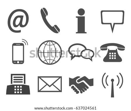 Grey contact icons - stock vector