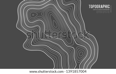 Grey contours vector topography. Geographic mountain topography vector illustration. Topographic pattern texture. Map on land vector terrain. Elevation graphic contour height lines. Topographic map #1391857004