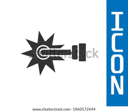 Grey Cowboy horse riding spur for boot icon isolated on white background.  Vector Stock photo ©