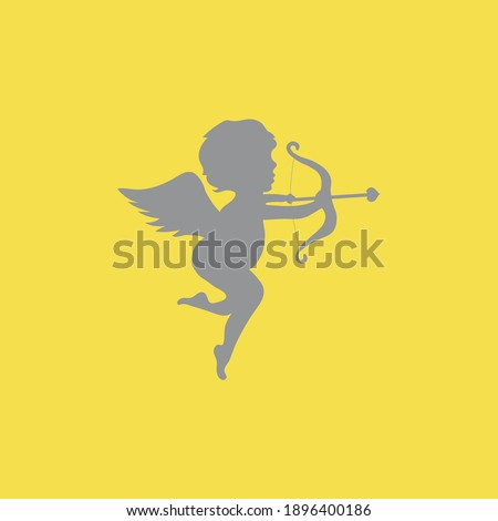 grey cupid icon love and