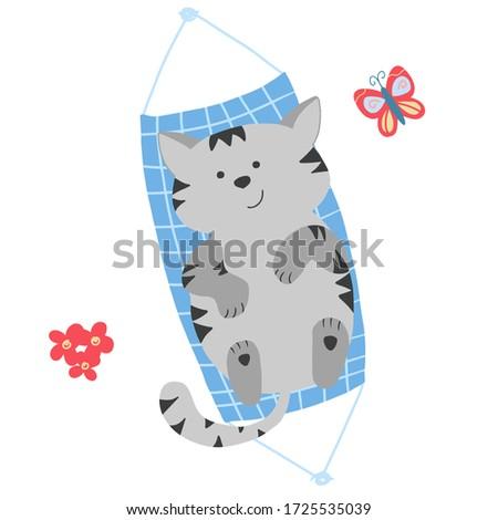 grey cute cat laying in hammock