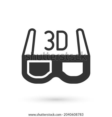 grey 3d cinema glasses icon